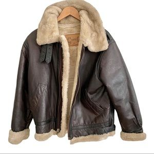 Llyod Elliott's Country Club Brown Leather Aviator Jacket Coat Small